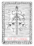 Ace of wands. The tarot card. Royalty Free Stock Photo