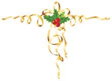 Acebo de la Navidad con la cinta/el vector del oro Imagenes de archivo