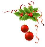 Acebo de la Navidad del vector con las bayas Fotos de archivo libres de regalías