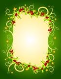 Acebo de la Navidad y marco verdes de las estrellas Foto de archivo