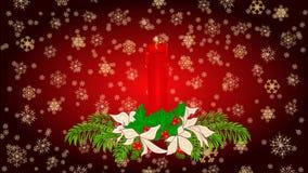 Acebo de la vela de la Feliz Navidad y vídeo rojos de la poinsetia stock de ilustración