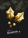 Acebo de oro de la Feliz Año Nuevo de la Feliz Navidad bajo polivinílico Imagen de archivo