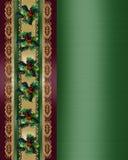 Acebo y cinta de la frontera de la Navidad elegantes ilustración del vector