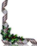 Acebo y cinta de la Navidad Foto de archivo libre de regalías