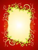 Acebo y estrellas rojos de la Navidad Fotografía de archivo