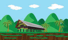 Aceh traditional house landscape Royalty Free Stock Images