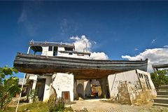 Aceh tsunami 2004 ruin ship. This is Aceh 2014 tsunami ruin ships, and became city landmark for memorized great 2004 Aceh tsunami tht killed more than 100000 stock photography