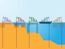 Aceite abstracto del fondo, ingeniería del icono del pozo de petróleo ilustración del vector