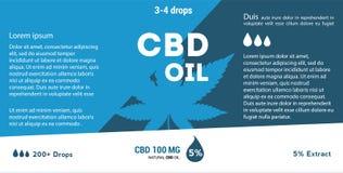 Aceite azul del cáñamo del vector Aceite de CBD Etiqueta de la hoja de la marijuana ilustración del vector