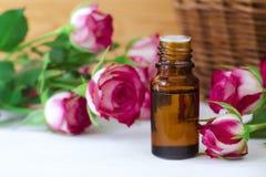 Aceite color de rosa esencial Imagenes de archivo