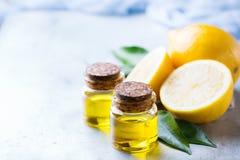 Aceite de limón esencial orgánico con las hojas y la fruta del verde Imágenes de archivo libres de regalías