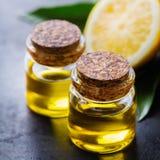 Aceite de limón esencial orgánico con las hojas y la fruta del verde Fotografía de archivo libre de regalías