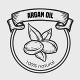 Aceite de nuez del dibujo del vector del Argan, fruta, baya, hoja, rama, planta Imagenes de archivo