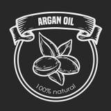 Aceite de nuez del dibujo del vector del Argan, fruta, baya, hoja, rama, planta Fotografía de archivo