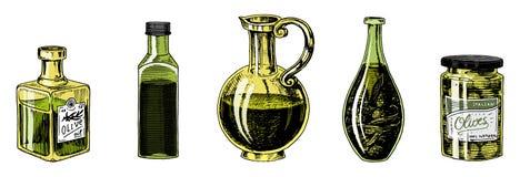 Aceite de oliva de árboles en botella y tarros con las etiquetas engomadas y los emblemas Producto vegetariano orgánico Fruta neg libre illustration