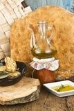 Aceite de oliva, cocina mediterránea Foto de archivo