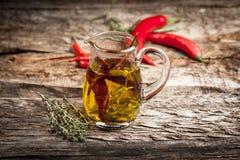 Aceite de oliva con la especia y las hierbas Fotografía de archivo libre de regalías