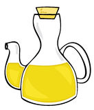 Aceite de oliva en la botella de cristal. Imagen de archivo