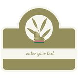 Aceite de oliva/escritura de la etiqueta Foto de archivo libre de regalías