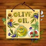 aceite de oliva hermoso del cartel del Mano-drenaje Imágenes de archivo libres de regalías
