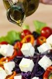 Aceite de oliva que viste la colada sobre la ensalada fresca Fotografía de archivo