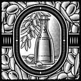 Aceite de oliva retro blanco y negro Imagen de archivo libre de regalías