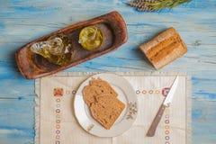 Aceite de oliva y pan, dieta mediterránea Fotos de archivo libres de regalías