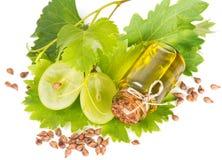 Aceite de semilla de la uva y uva cortada Fotos de archivo