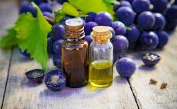 Aceite de semilla de la uva en un pequeño tarro Foco selectivo imagen de archivo libre de regalías