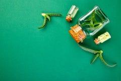 Aceite de Vera del áloe en la botella de cristal y la toalla para el balneario imagenes de archivo