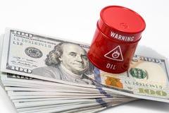 Aceite del barril, dólar Fotos de archivo