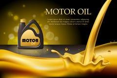 Aceite del motor o de motor en el fondo de oro ligero con los envases, del bokeh ejemplo 3d