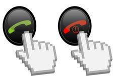 Aceite e rejeite o sinal de atendimento do telefone Imagem de Stock Royalty Free