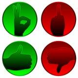 Aceite e rejeite símbolos Fotografia de Stock
