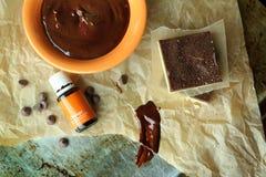 Aceite esencial con el chocolate Fotos de archivo libres de regalías