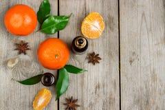 Aceite esencial de la mandarina orgánica Fotos de archivo libres de regalías