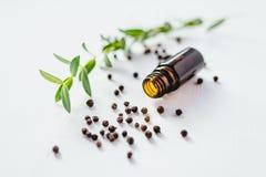 Aceite esencial de la pimienta negra en el fondo blanco foto de archivo libre de regalías
