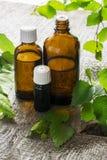 Aceite esencial del abedul para el aromatherapy en envases de cristal oscuros en fondo natural de madera con una rama del abedul Fotografía de archivo libre de regalías