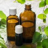 Aceite esencial del abedul para el aromatherapy en envases de cristal oscuros en fondo natural de madera con una rama del abedul Fotos de archivo