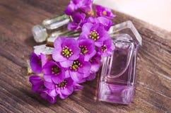 Aceite esencial en la botella de cristal Fotografía de archivo libre de regalías