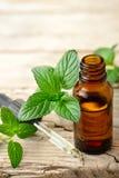 Aceite esencial y hojas de la hierbabuena en el tablero de madera fotos de archivo