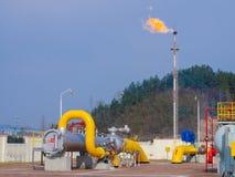 Aceite/gaseoducto en el fuego fotografía de archivo libre de regalías