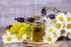 Aceite herbario mezclado Aceite esencial diverso Flores coloridas fotografía de archivo
