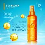 Aceite que broncea con la protección ULTRAVIOLETA y vitaminas stock de ilustración