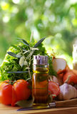 Aceite, tomate e hierbas de oliva Fotos de archivo libres de regalías