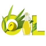 Aceite verde de la palabra de la tipografía con la rama de olivo y la botella de cristal Imágenes de archivo libres de regalías