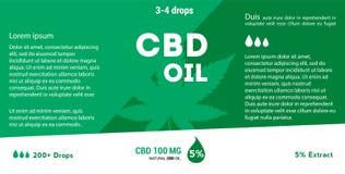 Aceite verde del cáñamo del vector Aceite de CBD Etiqueta de la hoja de la marijuana stock de ilustración
