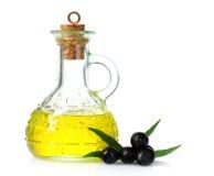 Aceite y aceitunas de oliva Fotografía de archivo libre de regalías