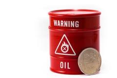 Aceite y rublo del barril Fotos de archivo