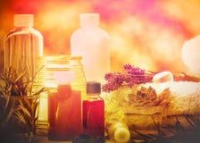 Aceites aromáticos y aceite esencial - tratamiento del balneario Imágenes de archivo libres de regalías